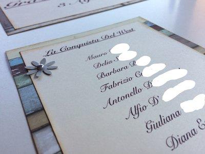 Cartellini tableau de mariage nomi invitati rettangolari misura media base effetto legno