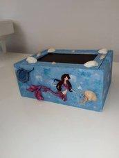 cofanetto in legno tema marino con sirena in fimo. Spedizione gratuita in Italia