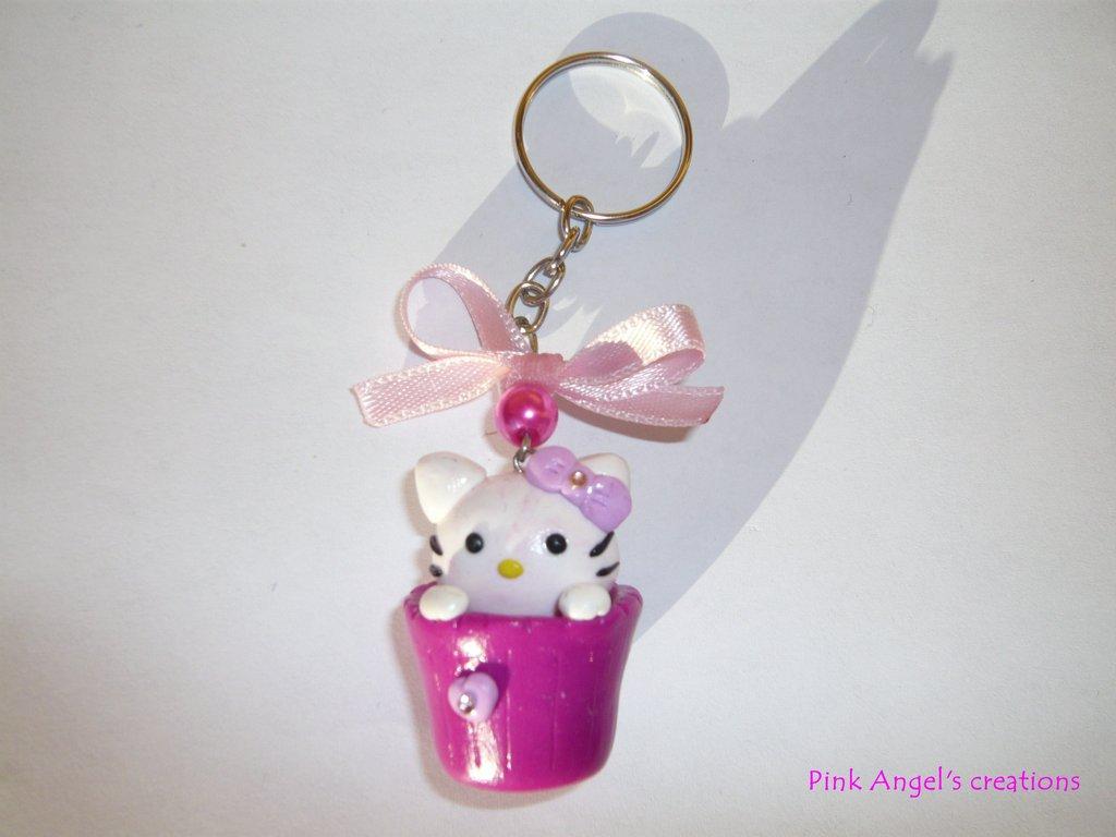 Portachiavi Hello Kitty in tazzina