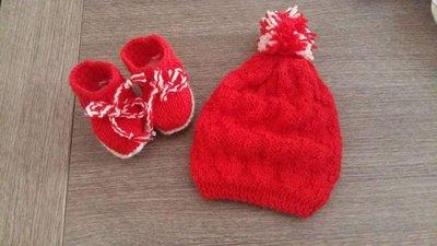 Completo cappellino e scarpine lana