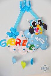 Fiocco nascita gufetto personalizzato con nome bimbo o bimba