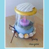 Porta candela stile marino con conchiglie, sabbia, in vetro decorato a mano