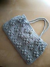 borsa piccola uncinetto in cotone azzurro borsetta a mano fatta a mano borsa ecologica estate elegante cerimonia