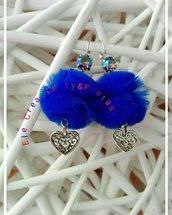 Orecchini pon pon blu