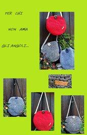 borsa in fettuccia lurex/cotone/lycra nuova fatta a mano crochet made in Italy