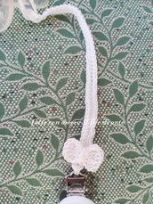 Catenella portaciuccio bianco panna con fiocco / battesimo