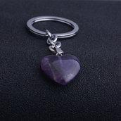 Portachiavi uomo donna con cuore in autentica ametista pietra dura naturale chakra cristalloterapia