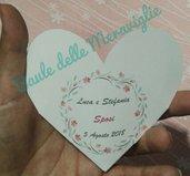 Cono bustina porta riso per matrimonio a forma di cuore con stampa dei nomi sposi