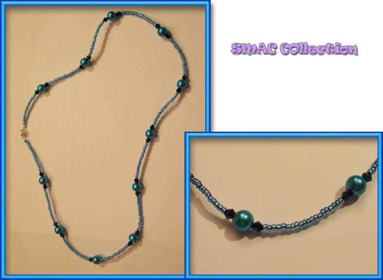 Collana perline e swarovski blu