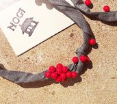 Collana NOGI stoffa perle rosse
