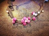 Collana NOGI stoffa e quarzo rosa