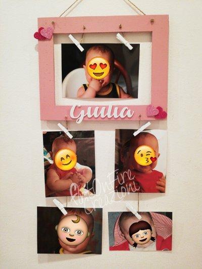 Cornice portafoto in legno con nome personalizzato