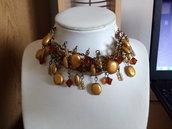 Collarino arancione e bronzo