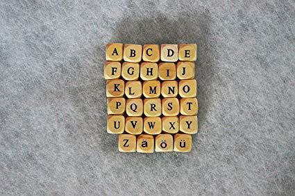 Lotto 5 lettere cubi Alfabeto portaciuccio Z/W/Y/X