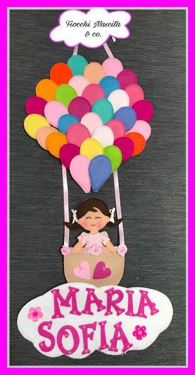 Fiocco nascita mongolfiera con palloncini