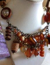 Collana bronzo ambra arancione