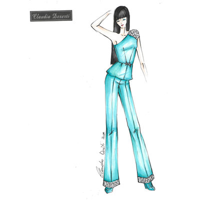 Cartamodello in taglia standard completo top monospalla e pantalone palazzo