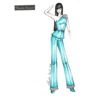 Cartamodello su misura completo top monospalla pantalone palazzo