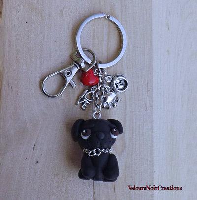 Portachiavi cane carlino nero in fimo