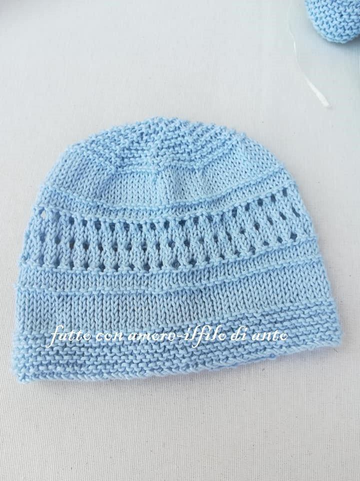 cappello bambino in cotone azzurro 100%