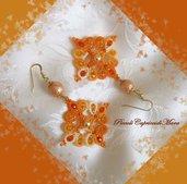 Orecchini gialli al chiacchierino, cristalli gialli ed arancioni