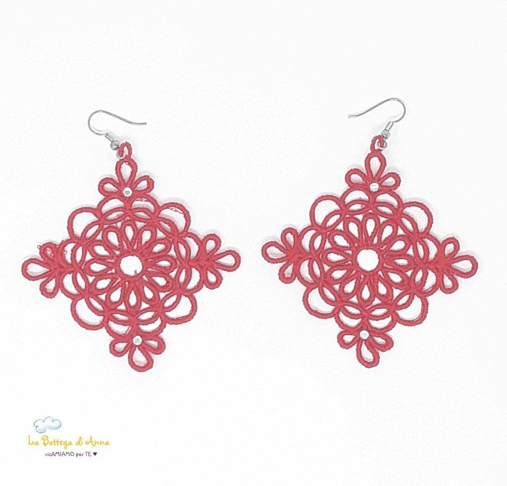 Orecchini a rombo in filo di cotone, La Bottega di Anna, rosso