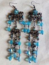 Orecchini candelieri bronzo e azzurri