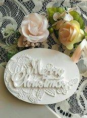 stampo fuoriporta medaglione ovale merry christmas cm.11x8