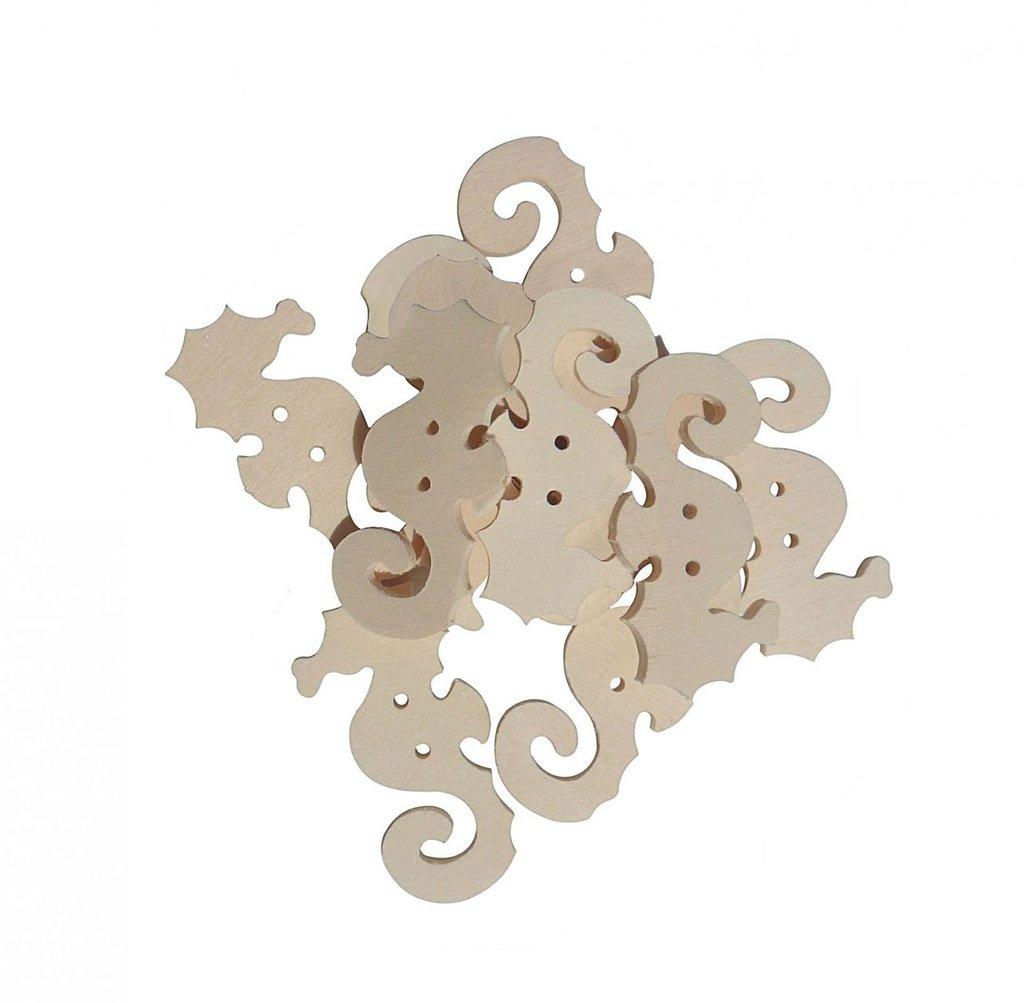 Bottoni in legno cavalluccio marino 12 pz