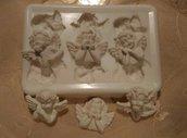 multistampo 6 teste di angeli ( 2x tipo) cm. 3x3