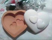 stampo cuore con 2 cuoricini cm.5x6