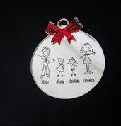 decorazione family fiocco rosso