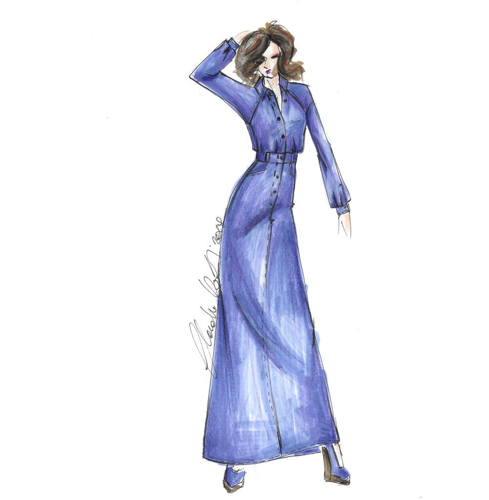 Cartamodello su misura abito chemisier (scamiciato) lungo