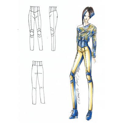 Cartamodello in taglia standard Pantalone aderente a vita alta