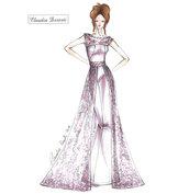 Cartamodello in tagli standard abito da sposa a sirena con pizzo