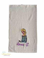 Asciugamano in spugna di cotone bianco con ricamo Elsa di Frozen personalizzato con nome - Misure: 50 x 30 cm