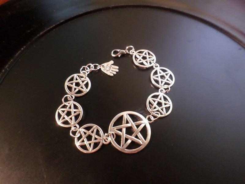 pentacolo bracciale stelle a cinque punte wicca argento