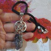 collana pietra dura ametista protezione pentacolo stella a cinque punte