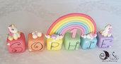 Cake topper cubi unicorni doppio arcobaleno compleanno bimba 6 cubi 6 lettere