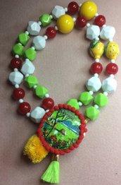 Collana lunga multicolore