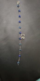 Braccialetto decina rosario con perle bigiotteria e ciondolo