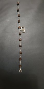 Braccialetto decina rosario realizzata a mano con perle in legn