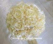 bouquet di rose di raso con perle e strass