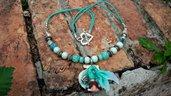Collana sirenetta verde acqua mare gioielli bigiotteria artigianale artistico idea regalo ragazza