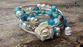Bracciale avvolgibile rose modellate a mano fimo perle bigiotteria gioielli artistici artigianali