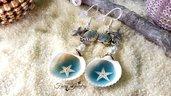 Orecchini mare conchiglie stelle marine monachelle argento 925 gioielli bigiotteria artigianale
