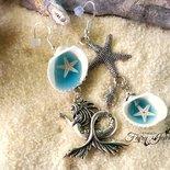 Orecchini sirena stella marina conchiglie naturali  gioielli artistici artigianali idea regalo