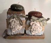 Porta candele con legni di mare