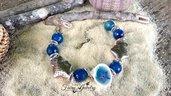 Bracciale agata blu pesci conchiglia mare stelle marine regolabile idea regalo compleanno
