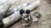 Orecchini crisalidi farfalle fatti a mano sfere pendenti monachelle argento 925